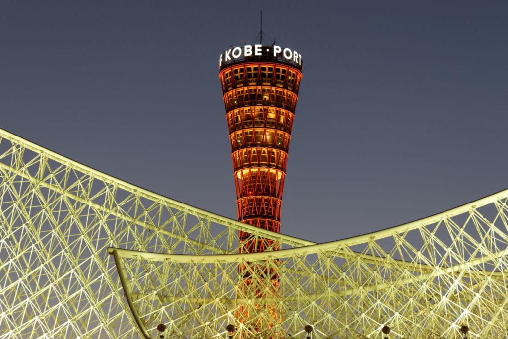 トラベル三脚で撮影した神戸ポートタワーの夜景