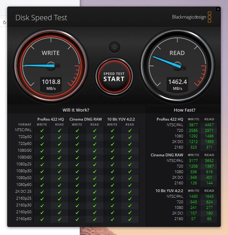 Blackmagic Disk Speed Test マウスコンピューター DAIV-DGZ530S2-KBFDのスコア