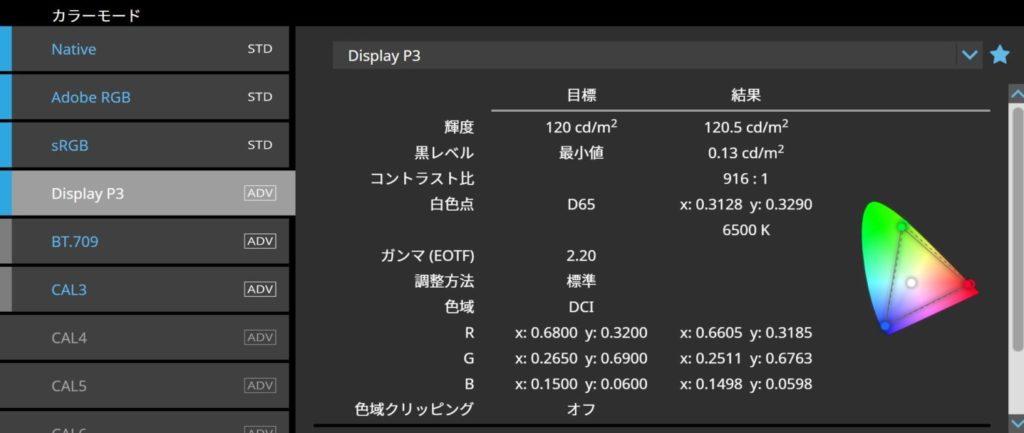 EIZO ColorNavigator7 DisplayP3 設定