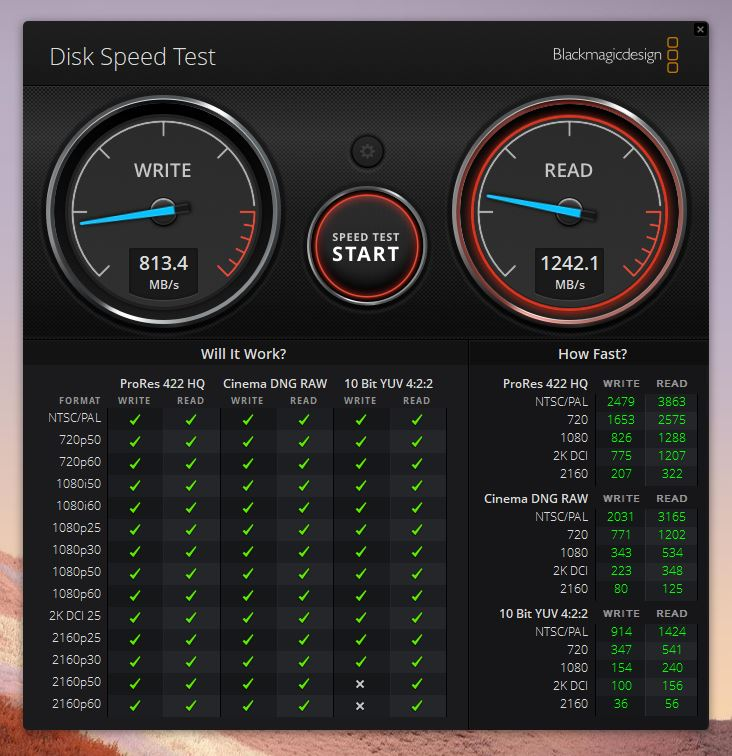 Blackmagic Disk Speed Test DAIV 3Nのスコア