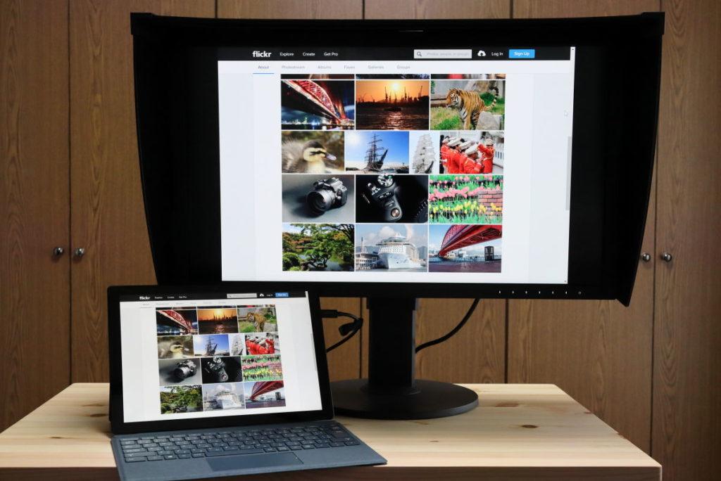 マイクロソフト SurfacePro7と27型4K カラーマネージメント液晶モニター ColorEdge CS2740