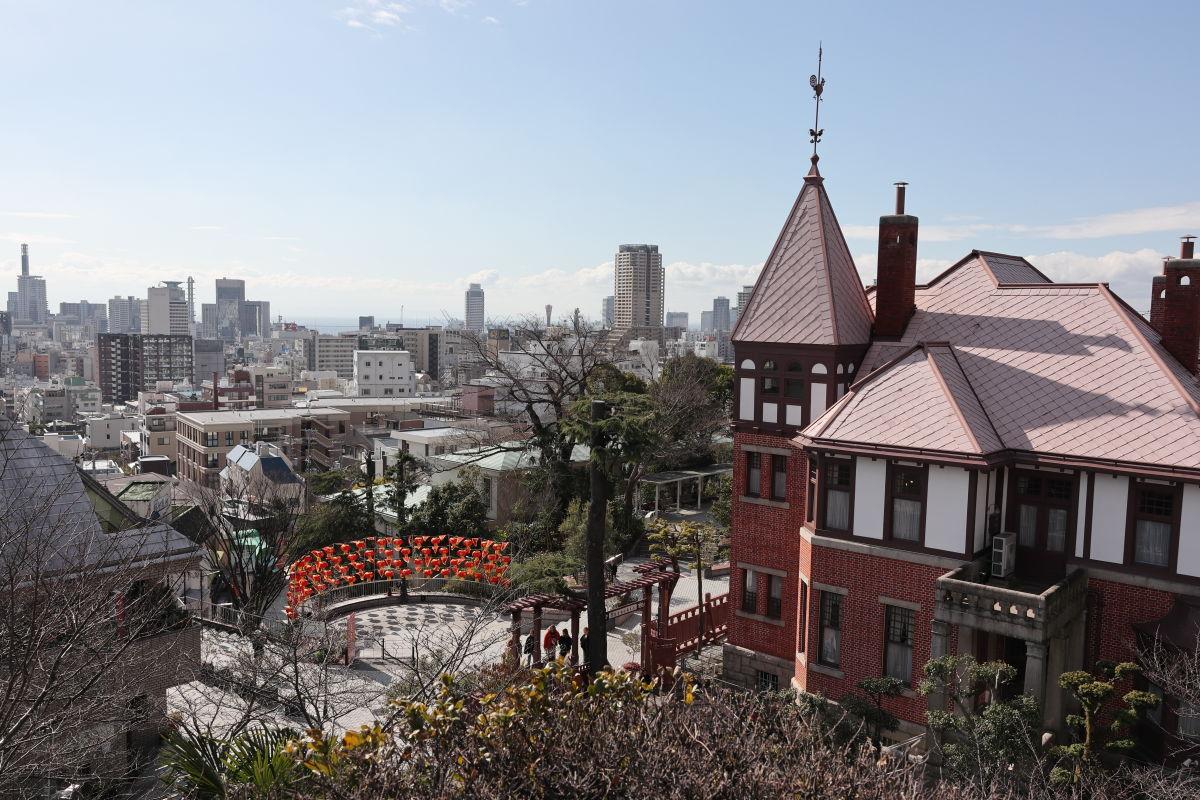 北野天満神社からの神戸の景色