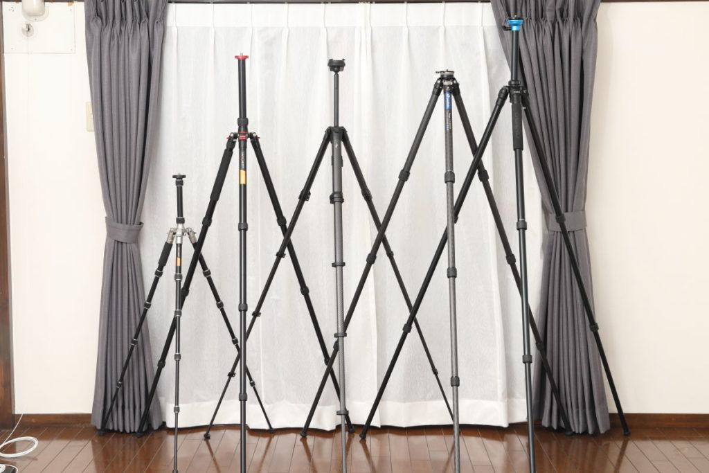 三脚を立てた状態のサイズ比較