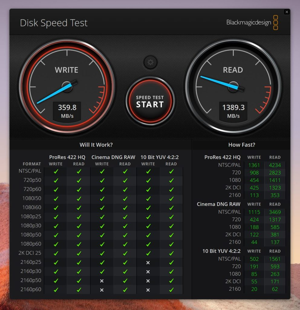 Blackmagic Disk Speed Test SurfacePro7のスコア