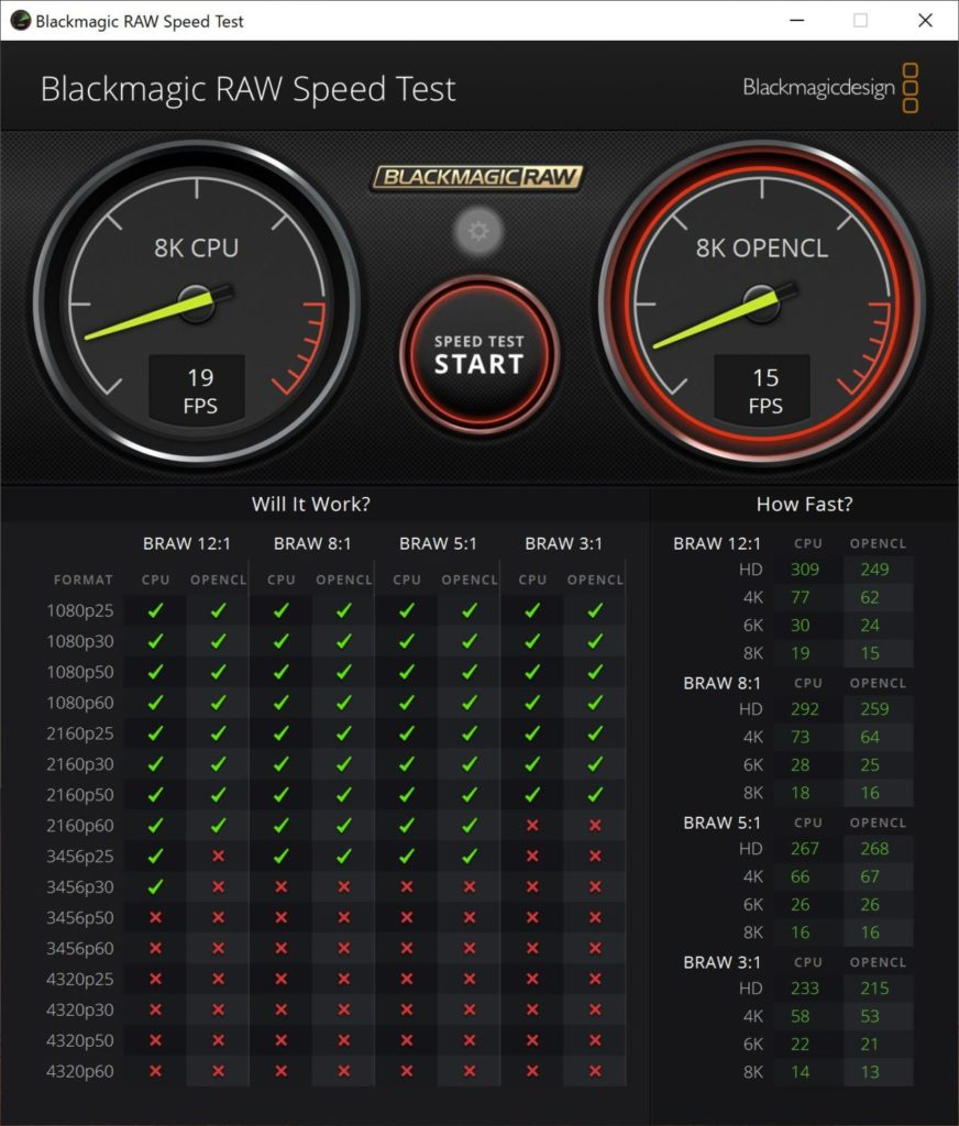 Blackmagic RAW Speed Test SurfacePro7のスコア