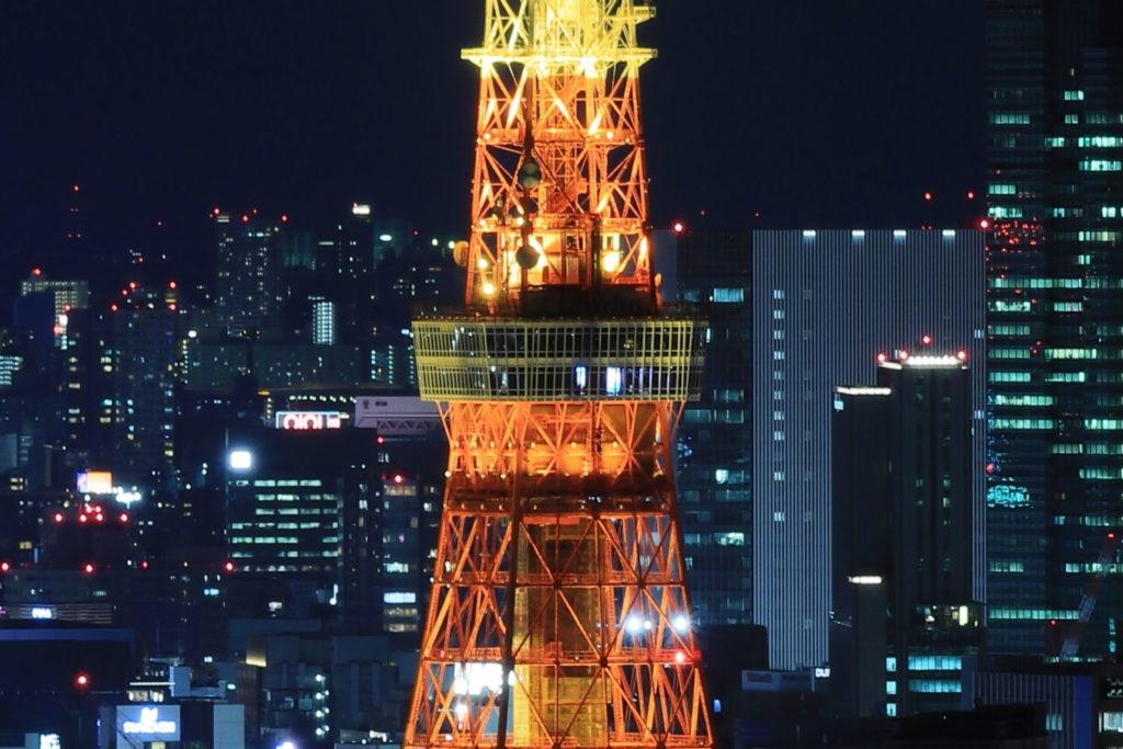 拡大 トラベル三脚で撮影した東京タワーの夜景