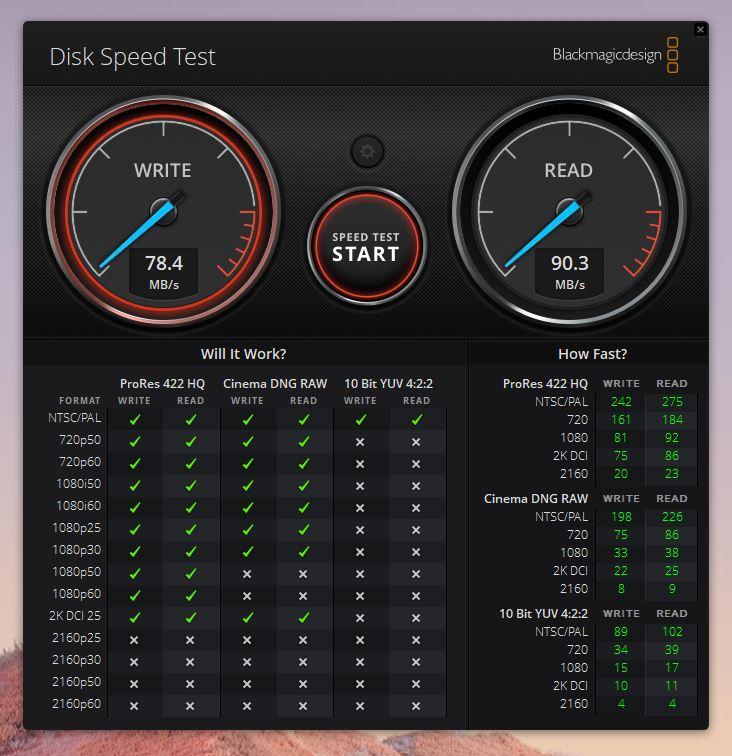 PC内蔵のSDカードリーダーの速度 Blackmagic Disk Speed Test
