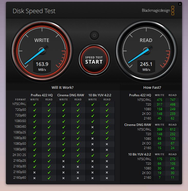 外付けののSDカードリーダーの速度 Blackmagic Disk Speed Test