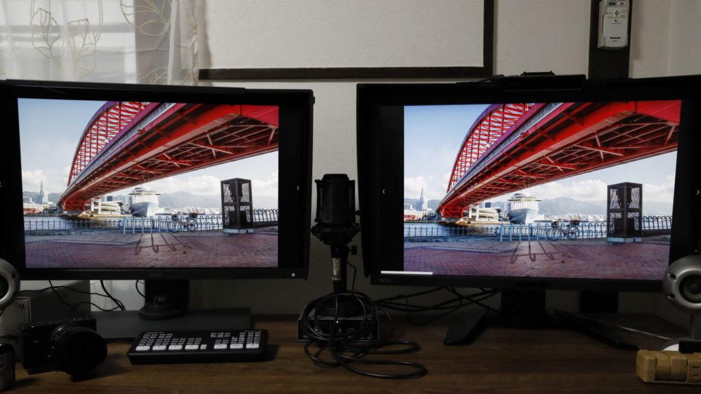 ディスプレイの色の比較 左:BenQ SW270C 右:BenQ PV270