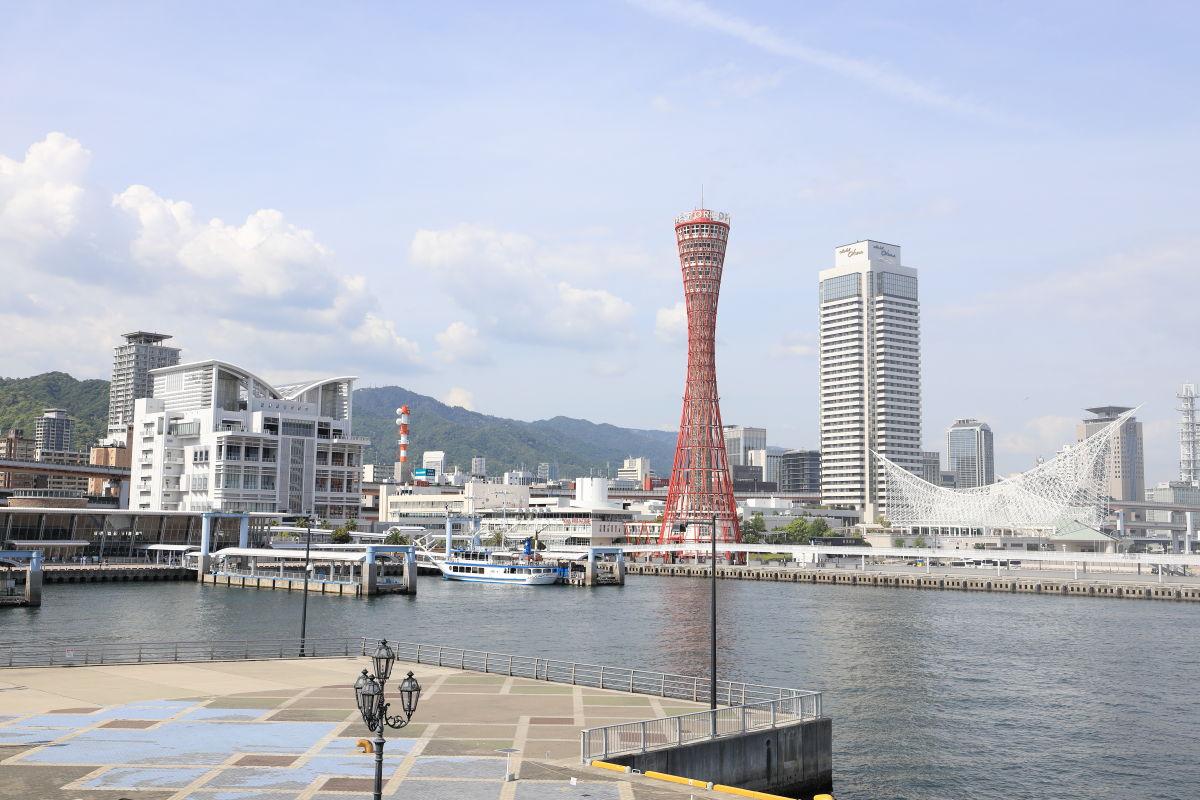 神戸の港の景色 ハーバーランド