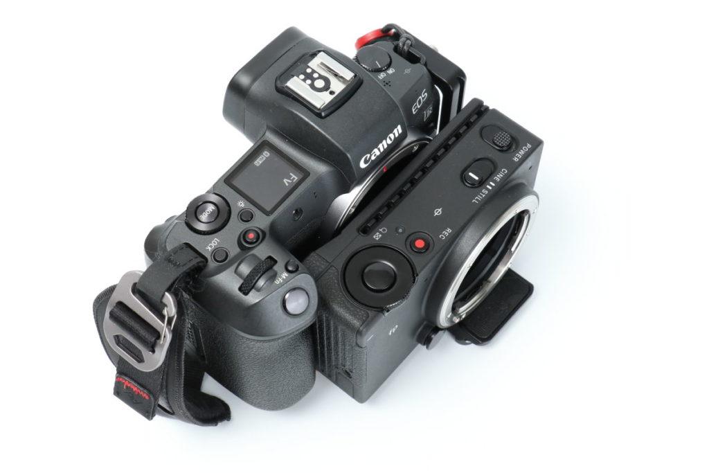 フルサイズミラーレス一眼カメラの大きさ比較 キヤノンEOS R とSIGMA fp