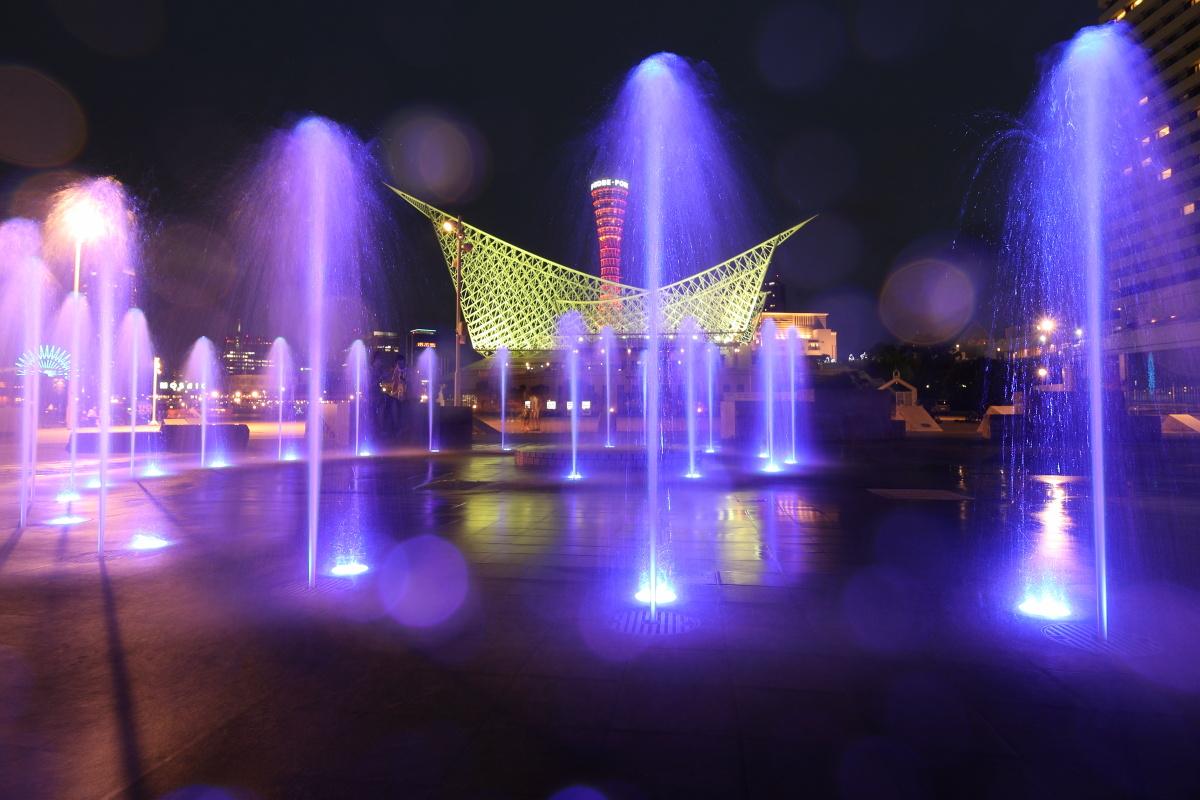 神戸メリケンパークの噴水