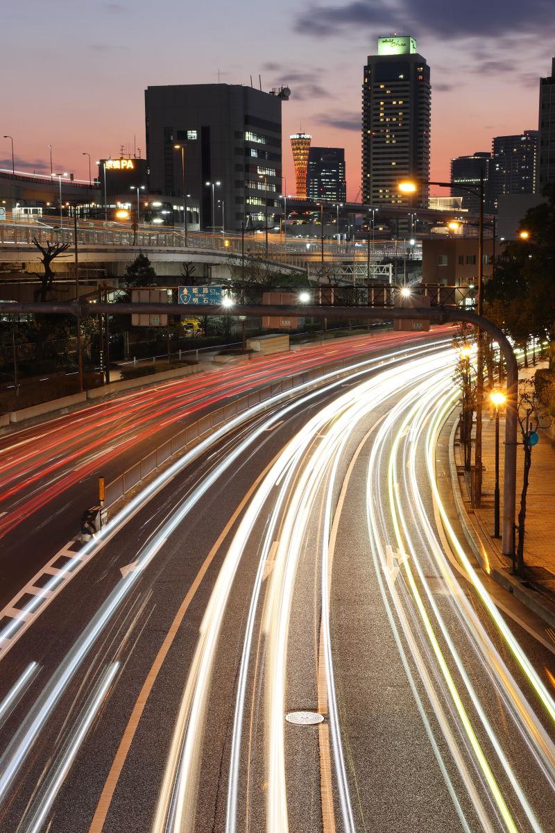 歩道橋から見る神戸の夕焼け