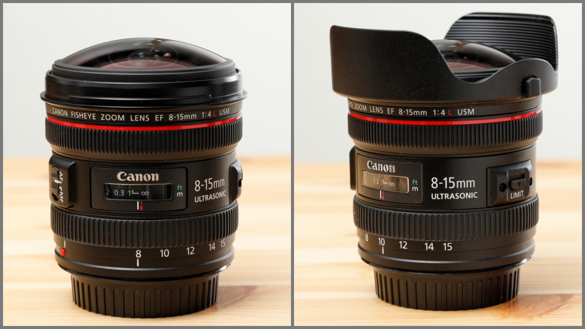EF8-15mm F4L Fisheye USM 前玉とレンズフード キヤノン 魚眼レンズ