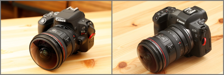 EF8-15mm F4L Fisheye USMを装着した一眼カメラ
