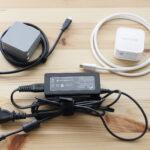DAIV 4P の電源アダプターと小型USB充電器
