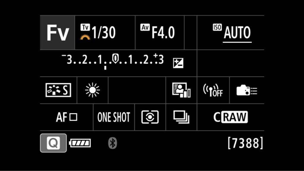 Fvモード キヤノンEOS Rの画面