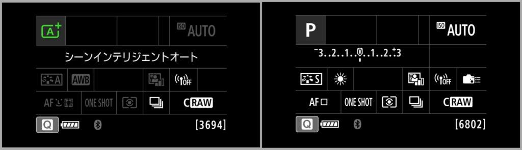 Pモードとシーンインテリジェントオートモードの比較