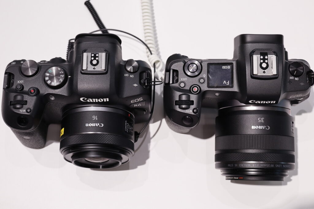 RF16mm F2.8 STMとRF35mm F1.8 MACRO IS STMのサイズ比較